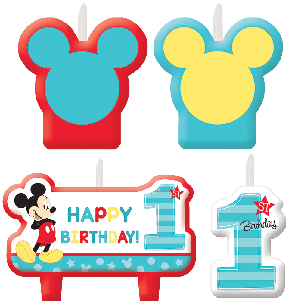 Featured Image for Mickey 1st Birthday Candle Set – Pack of 4