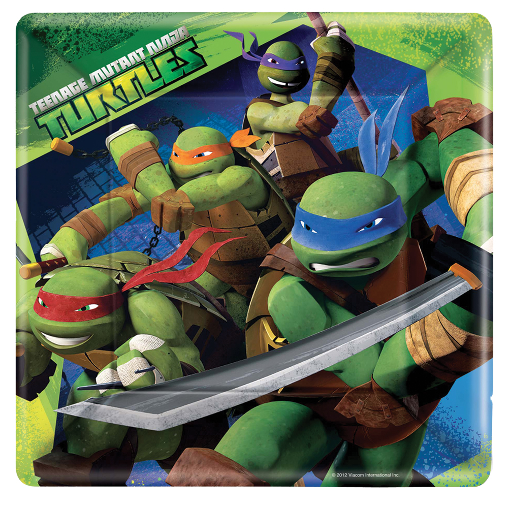 Featured Image for 9″ Ninja Turtles Square Plates – Pack of 8