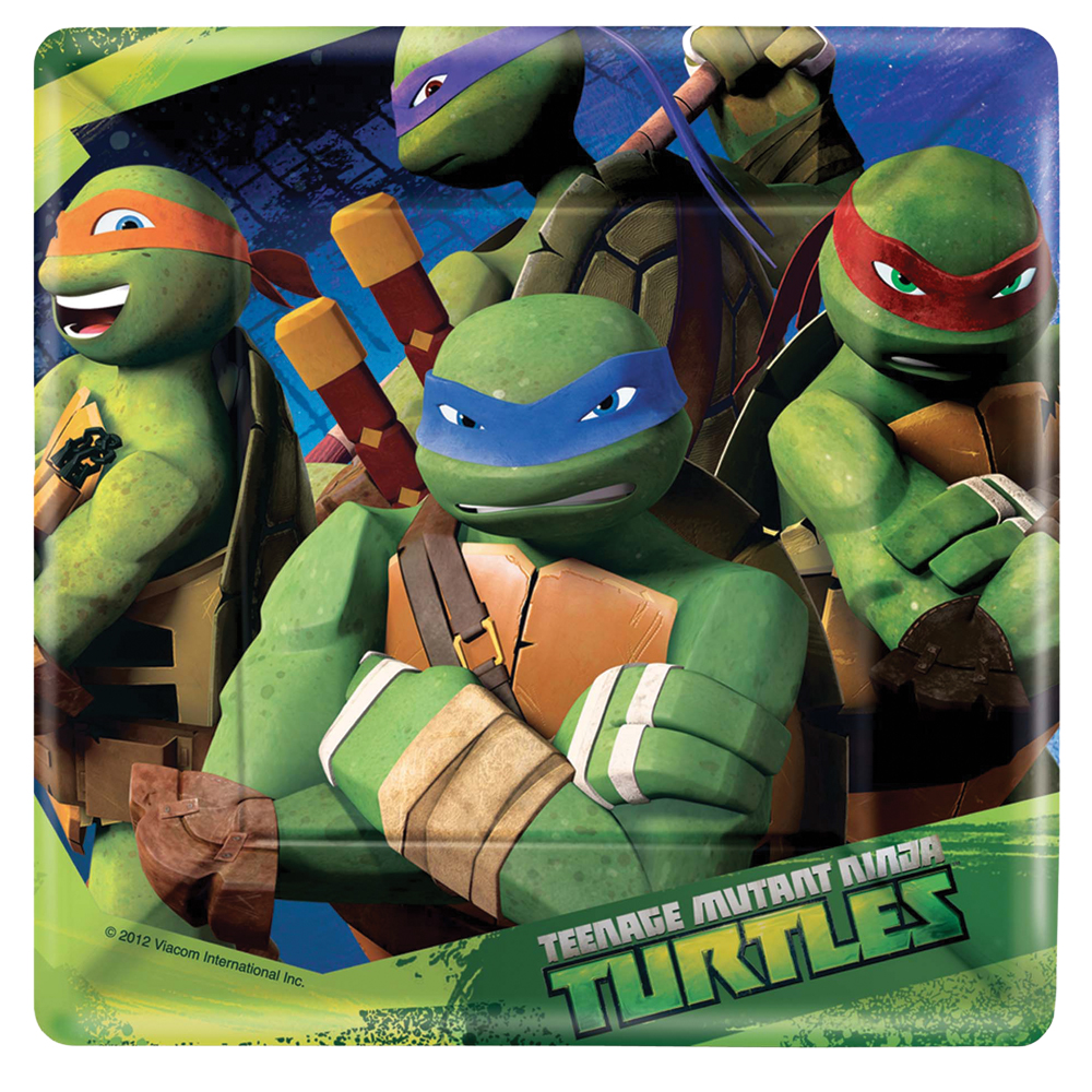 Featured Image for 7″ Ninja Turtles Square Plates – Pack of 8