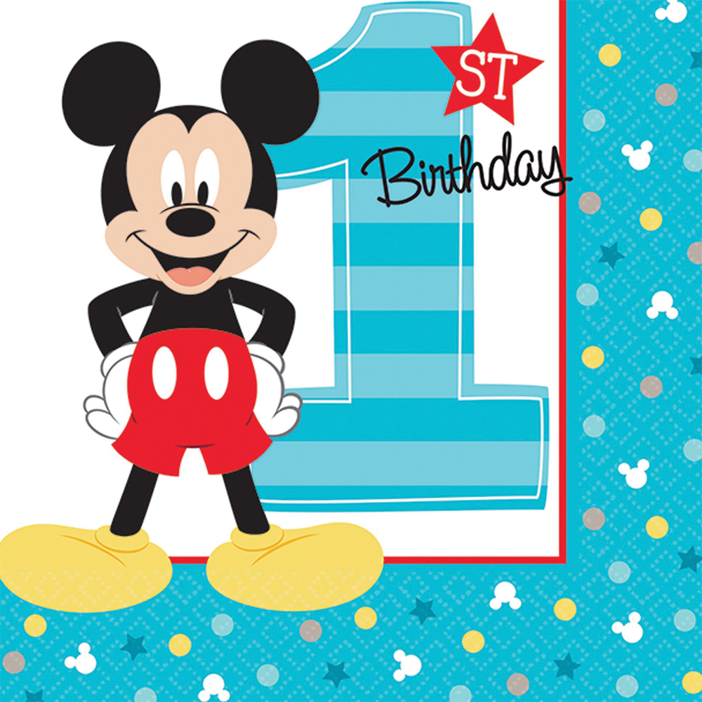 Featured Image for 5″ Mickey 1st Bev Napkins – Pack of 16