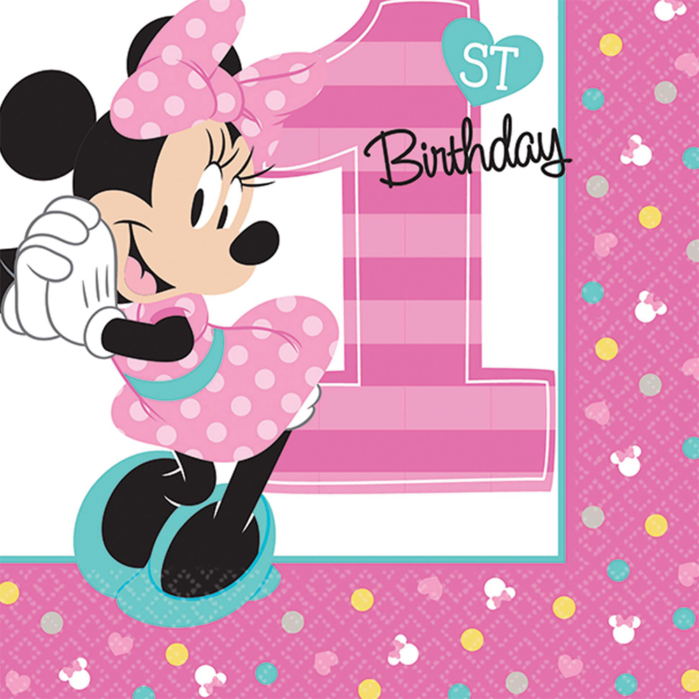 Featured Image for 5″ Minnie 1st Bev Napkins – Pack of 16