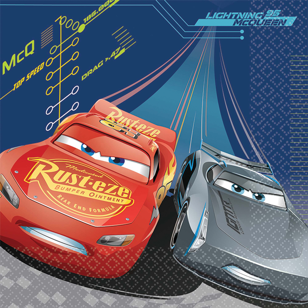 Featured Image for 6.5″ Disney Cars 3 Lunch Napkin – Pack of 16
