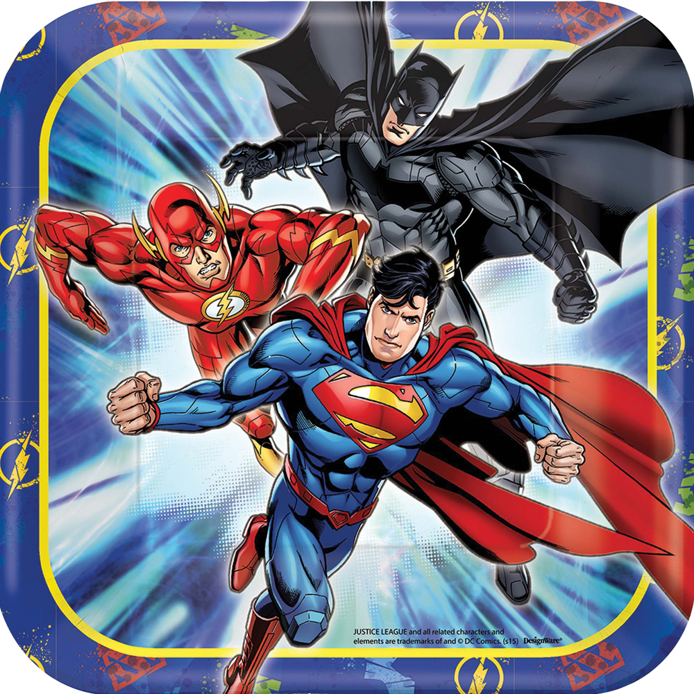 Featured Image for 7″ Justice League Square Plates – Pack of 8