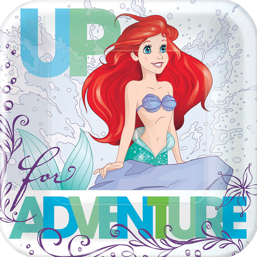 Featured Image for 7″ Disney Ariel Square Plates – Pack of 8