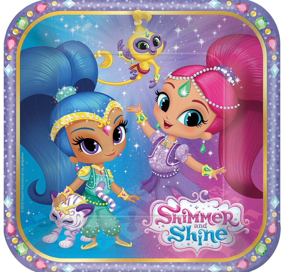 Featured Image for 7″ Shimmer Shine Square Plates – Pack of 8