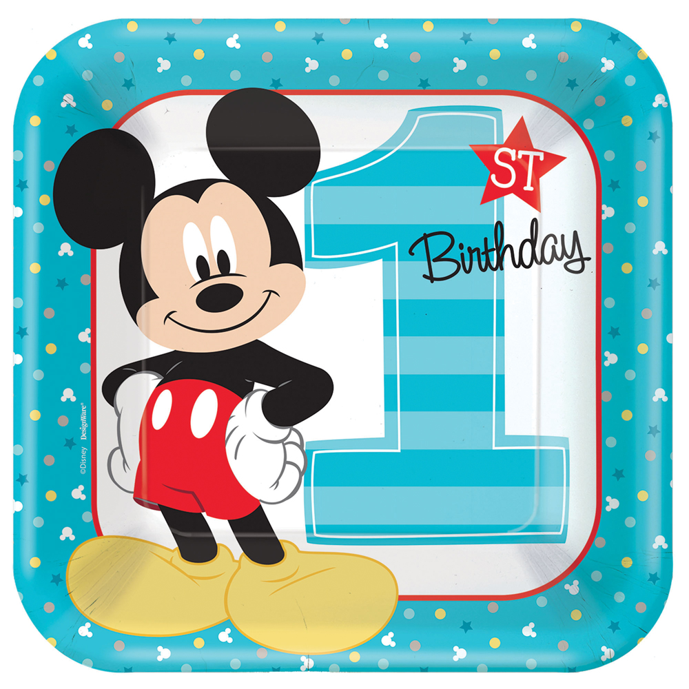 Featured Image for 9″ Mickey 1st Square Plates – Pack of 8