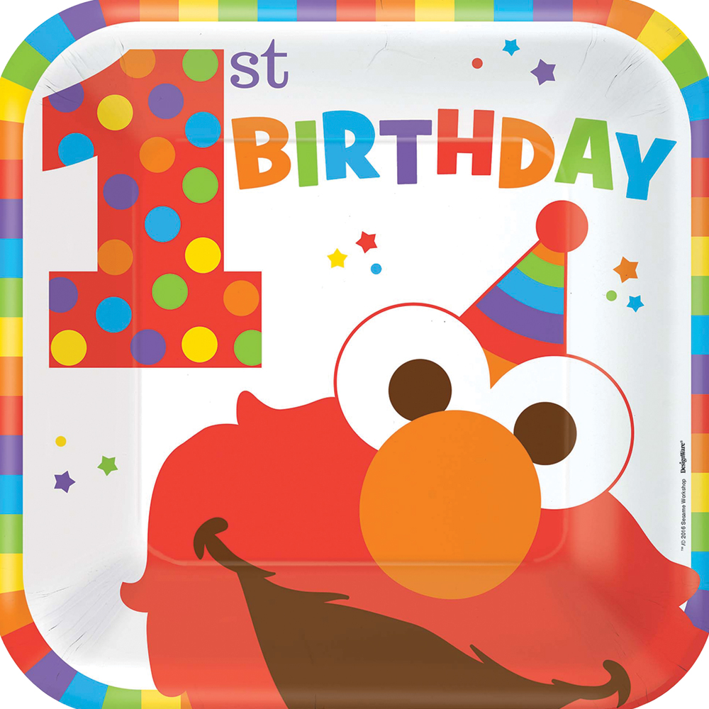 Featured Image for 9″ Elmo 1st Square Plates – Pack of 8
