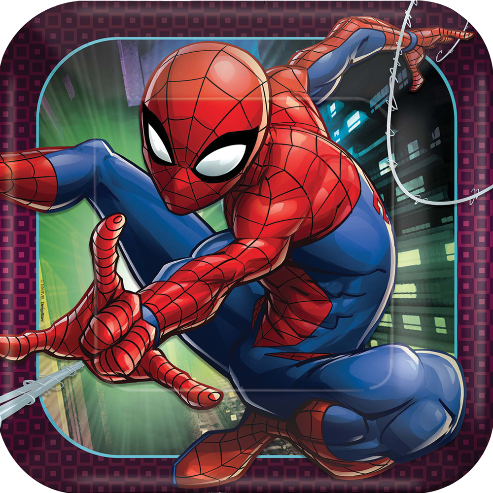 Featured Image for 9″ Spider-Man Square Plates – Pack of 8