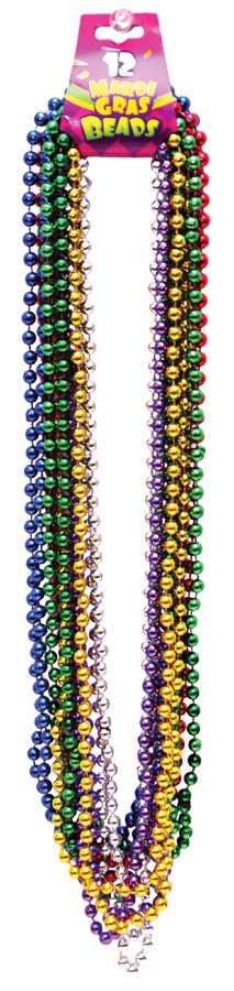 Featured Image for 33″ Beads 7.5mm Mardi Gras – Pack of 12