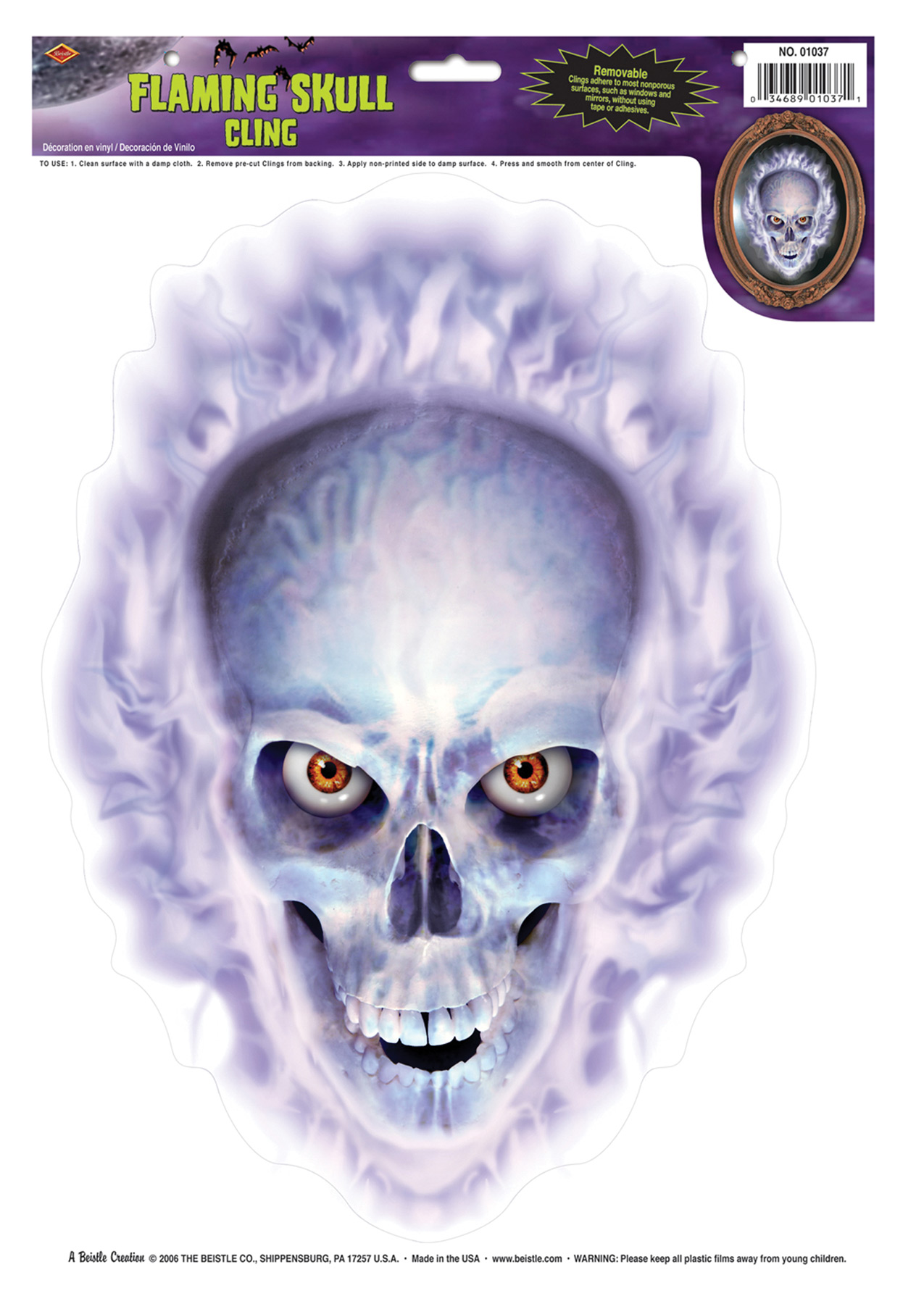Featured Image for Flaming Skull Cling