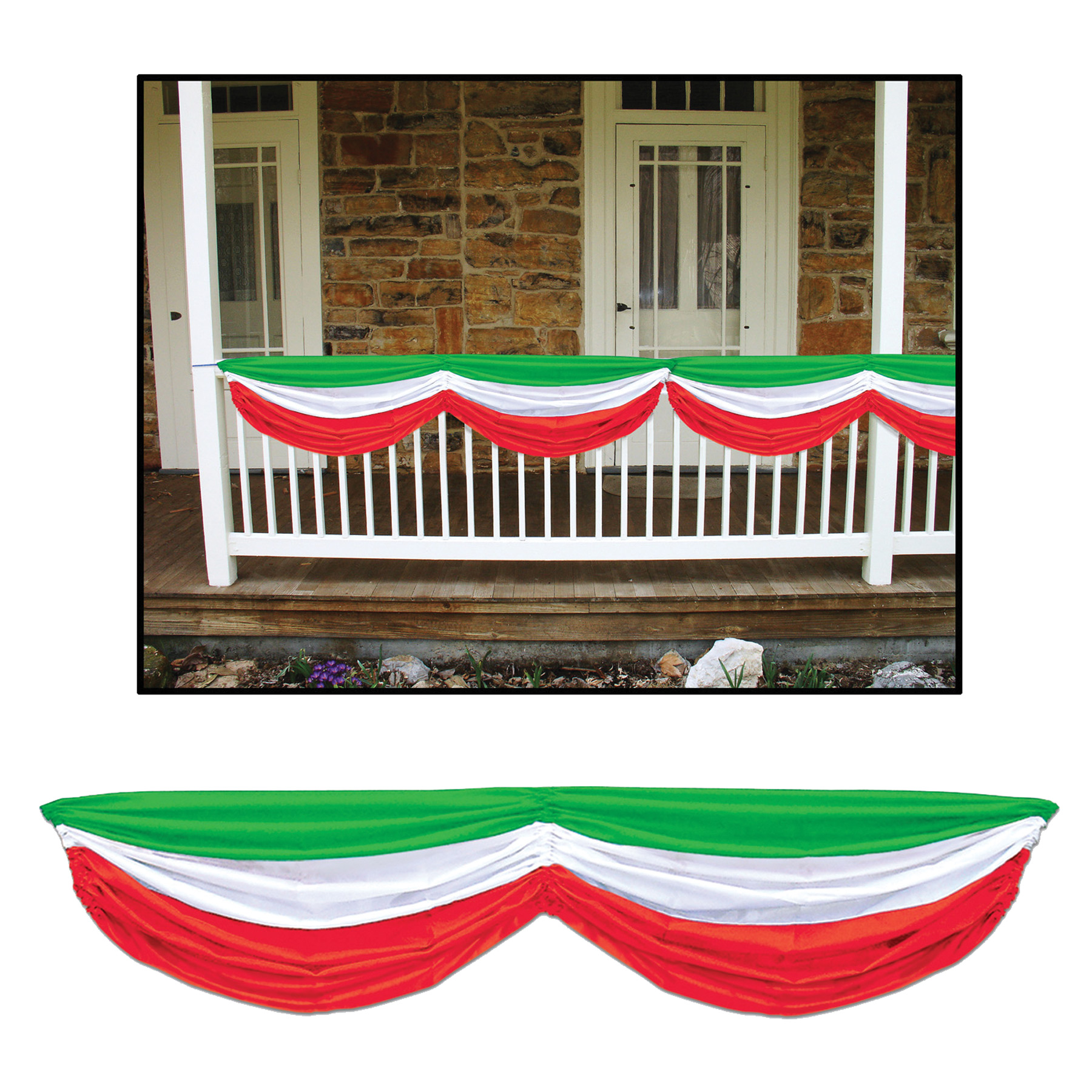 Featured Image for 5′ Red, White & Green Fabric Bunting